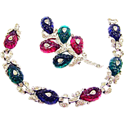 TRIFARI 'Alfred Philippe' 3-Color Fruit Salads and Pave Rhinestones Link Bracelet and Pin