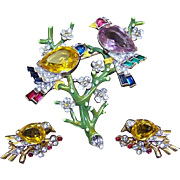 TRIFARI 'Alfred Philippe' Citrine, Pink Topaz and Enamel 'Two Birds on a Branch' Pin and Citrine Bird Clip Earrings