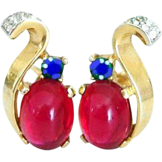 TRIFARI 'Alfred Philippe' Ruby Cabochon and Diamante 'Royal Crown' Sterling Clip Earrings