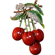 TRIFARI 'Alfred Philippe' Enamel & Diamante 'Cherries' Clip/Pin
