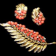 TRIFARI Coral Bead Leaf Pin and Clip Earrings Set