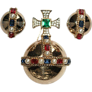 TRIFARI 'Alfred Philippe' 1950's Jeweled 'Coronation Gems' Globe/Orb and Clip Earrings Set