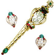 TRIFARI 'Alfred Philippe' 1950's Jeweled 'Coronation Gems' Scepter and Clip Earrings Set