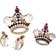 TRIFARI 'Alfred Philippe' Moonstone and Ruby Cabochons Sapphire, Ruby, and Diamante Rhinestones Royal Crown Pins and Sterling Moonstone Clip Earrings