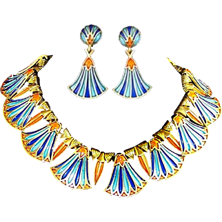 TRIFARI 'Alfred Philippe' 'Egyptian Revival' Coral, Lapis, Turquoise Enamel Necklace and Pendant Clip Earrings