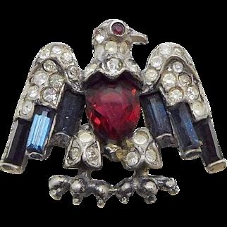TRIFARI 'Alfred Philippe' STERLING Red, White & Blue Patriotic Small Eagle Pin