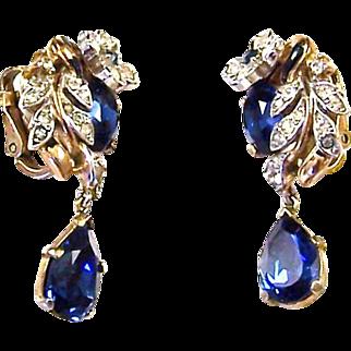 TRIFARI 'Alfred Philippe' Sapphire, Diamante, and Enamel 'Empress Eugenie' Clip Earrings