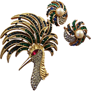 TRIFARI 'Alfred Philippe' Sapphire and Emerald 'Firebird' Pin and Clip Earrings Set