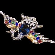 TRIFARI 'Alfred Philippe' STERLING Bejeweled 'Firebird' Pin