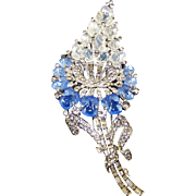 TRIFARI 'Alfred Philippe' Chalcedony & Moonstone Fruit Salads, Pave & Baguette Giant Flower Pin/Clip