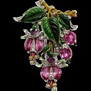 TRIFARI 'Alfred Philippe' Enamel and Pink Demilune Crystals 'Fuchsia' Clip/Pin