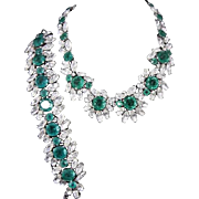 TRIFARI 'Alfred Philippe' Rare Emerald and Diamante Crystals Necklace and Bracelet Set