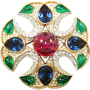 TRIFARI 'Alfred Philippe' 'Jewels of India' Ruby, Emerald, Sapphire and Diamante Maltese Cross Pin