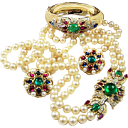 TRIFARI 'Alfred Philippe' 'Jewels of India' Double Strand Simulated Pearl Necklace, Clamper Bracelet, and Clip Earrings Set
