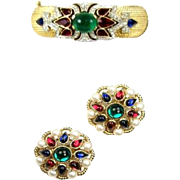 TRIFARI 'Alfred Philippe' 'Jewels of India' Clamper Bracelet and Clip Earrings