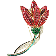 TRIFARI 'Alfred Philippe' Large Invisibly Set Rubie and Emerald Crystals, Pave Diamante Tulip Pin
