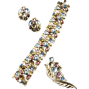 TRIFARI 'Alfred Philippe' 'Jewels of Fantasy' Pastel Mirrored Cabochons Linked Bracelet, Pin and Clip Earrings