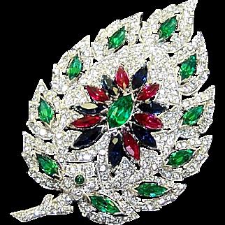 KTF/TKF TRIFARI Ultra Rare Emerald, Ruby, Sapphire and Pavé Art Deco Leaf Pin
