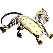 TRIFARI 'Alfred Philippe' Large Black Enamel and Simulated Pearl Belly 'Ming Tiger' Pin