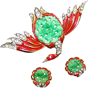 TRIFARI 'Alfred Philippe' Red Enamel Simulated Jade Belly Ming Duck Pin and Clip Earrings Set