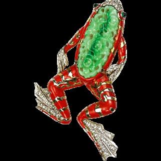TRIFARI 'Alfred Philippe' Huge Red Enamel Simulated Pierced Jade 'Ming Frog' Clip/Pin