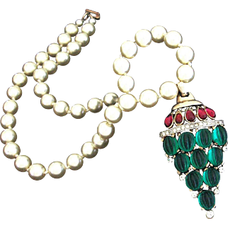 TRIFARI 'Alfred Philippe' Jewels of India Moghul Pearl, Emerald, Ruby and Diamante 'Wasp's Nest' Pendant Necklace