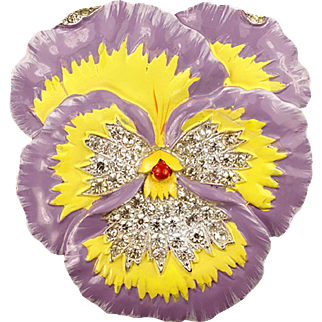 TRIFARI 'Alfred Philippe' Lilac and Yellow Enamel Pave Rhinestone Pansy Flower Pin