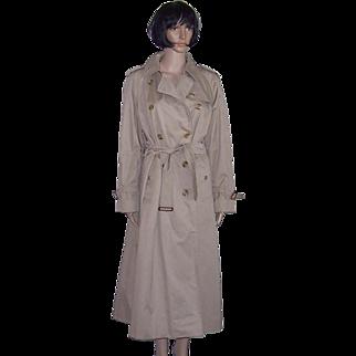 BURBERRY PRORSUM Classic Khaki Trenchcoat/Rain Coat w/Nova Check Lining Women's Size L (12-14)