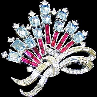 TRIFARI Ruby Red, Sapphire Blue and Diamante Patriotic Spray Pin