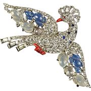 TRIFARI 'Alfred Philippe' Pave, Chalcedony Blue & White 'Fruit Salad Peacock' Pin