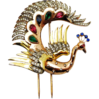 TRIFARI 'Alfred Philippe' STERLING Bejeweled 'Flying Peacock' Clip/Pin