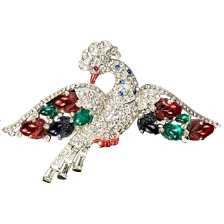 TRIFARI 'Alfred Philippe' Pave and Tri-color 'Fruit Salad Peacock' Bird Pin