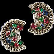 TRIFARI 'Alfred Philippe' STERLING Ruby, Emerald, Sapphire and Diamante Fan Clip Earrings