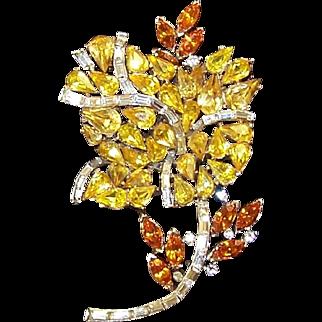 TRIFARI 'Alfred Philippe' Citrine Topaz and Diamante Baguettes Yellow Rose Pin