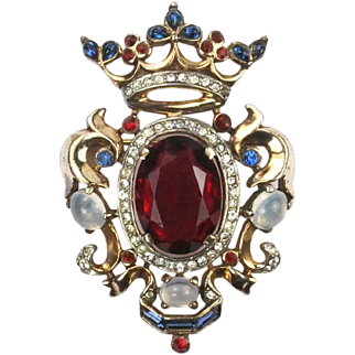TRIFARI 'Alfred Philippe' Sterling Ruby and Moonstone Coronation Crown and Shield Pin