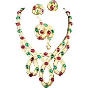 TRIFARI 'Alfred Philippe' Ruby Red and Emerald Green Cabochons Articulated Intertwined Necklace Snake Pin, and Clip Earrings Set