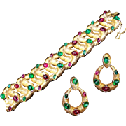 TRIFARI 'Alfred Philippe' Ruby Red and Emerald Green Cabochons Articulated Intertwined Bracelet and Pendant Clip Earrings Set
