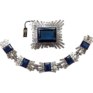 TRIFARI 'Alfred Philippe' Emerald-cut Sapphire and Diamond 'Starburst' Bracelet and Giant Pin Set