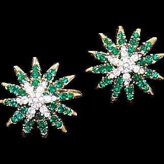 TRIFARI 'Alfred Philippe' Emerald and Diamante 'Starflight' Clip Earrings Set