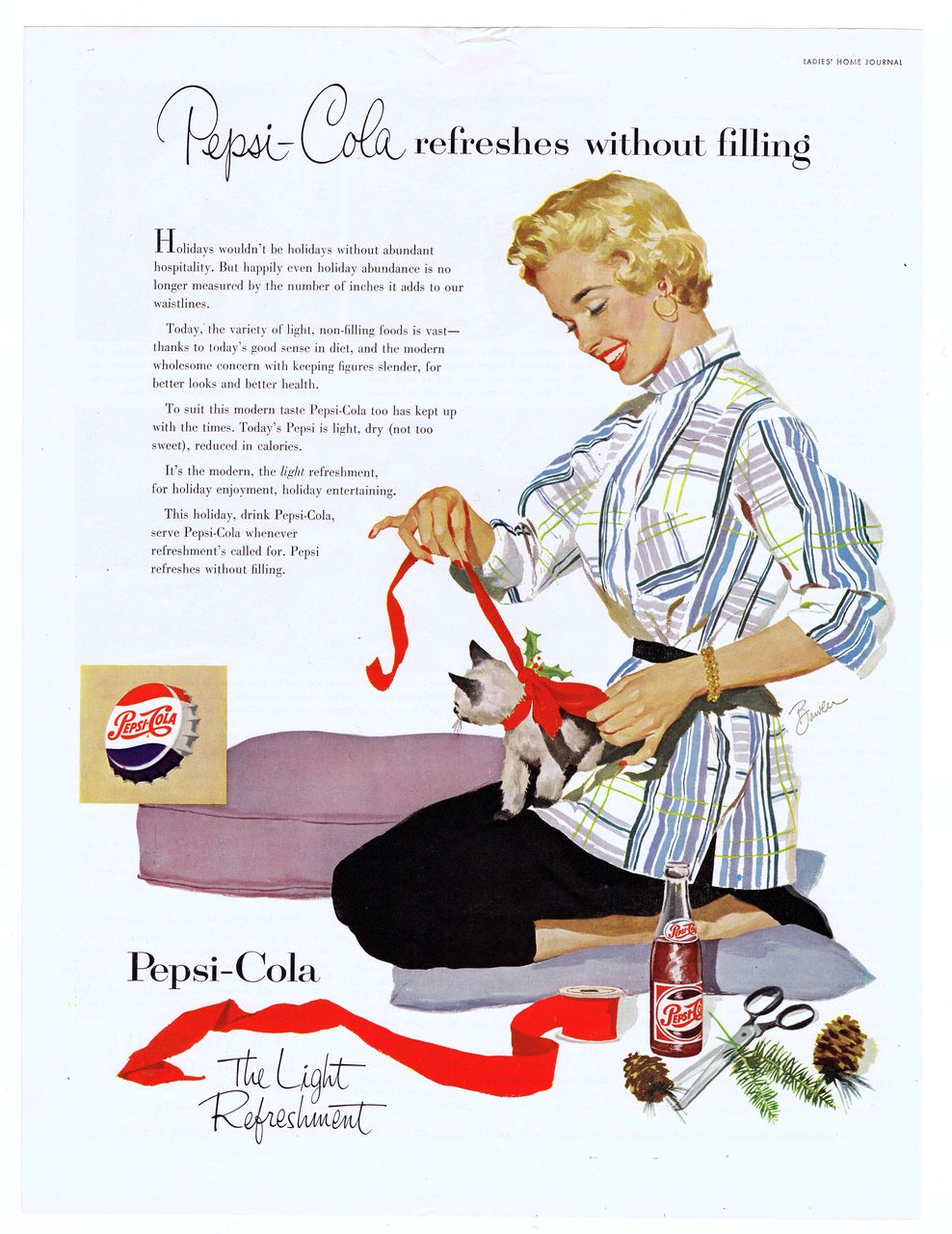 1953 Christmas Ad - PEPSI-COLA - 'Pretty Blonde w/ Kitty Cat'