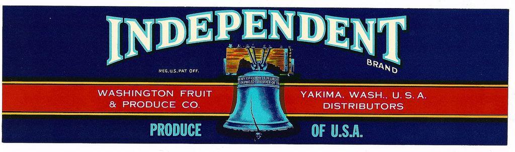 Vintage Fruit CRATE LABEL - 'Independent' Brand Cherries - Liberty Bell Motif