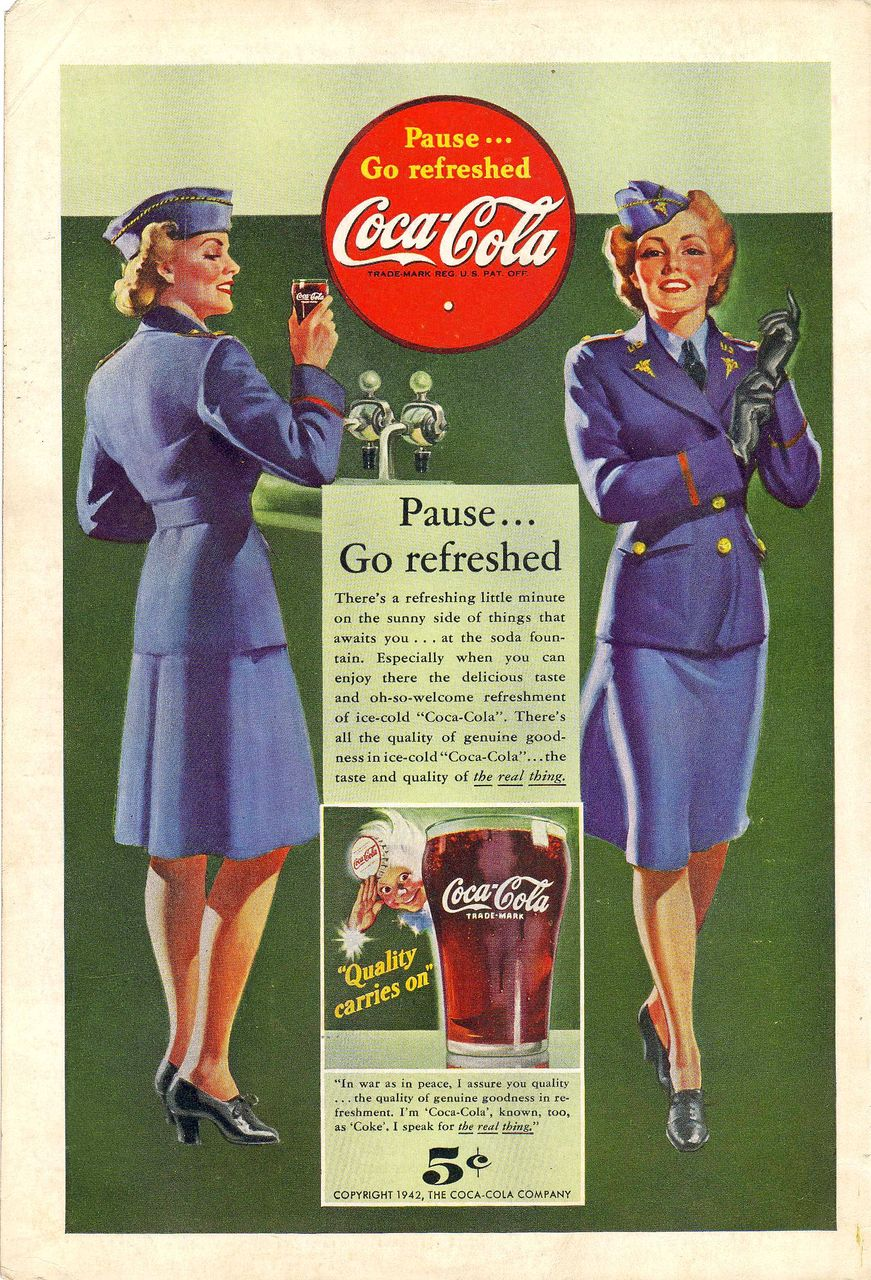 1942 Ads - Coca-Cola COKE - 'WWII U.S. Service Women' / NASH-Kelvinator - 'Fighter Plane' (on reverse)