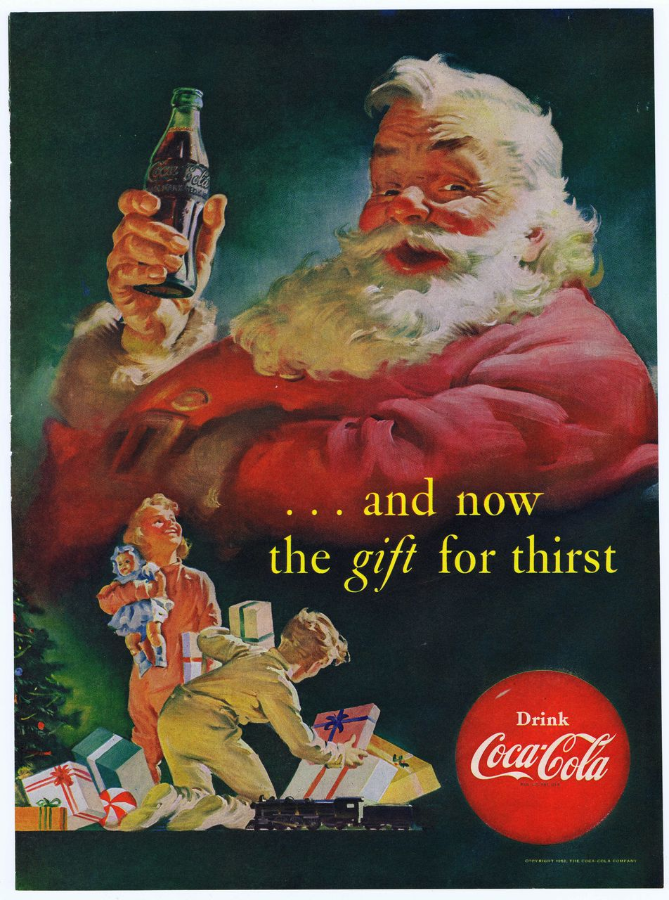 1952 Ad - Coca Cola COKE - Santa Claus '...and now the gift for thirst'