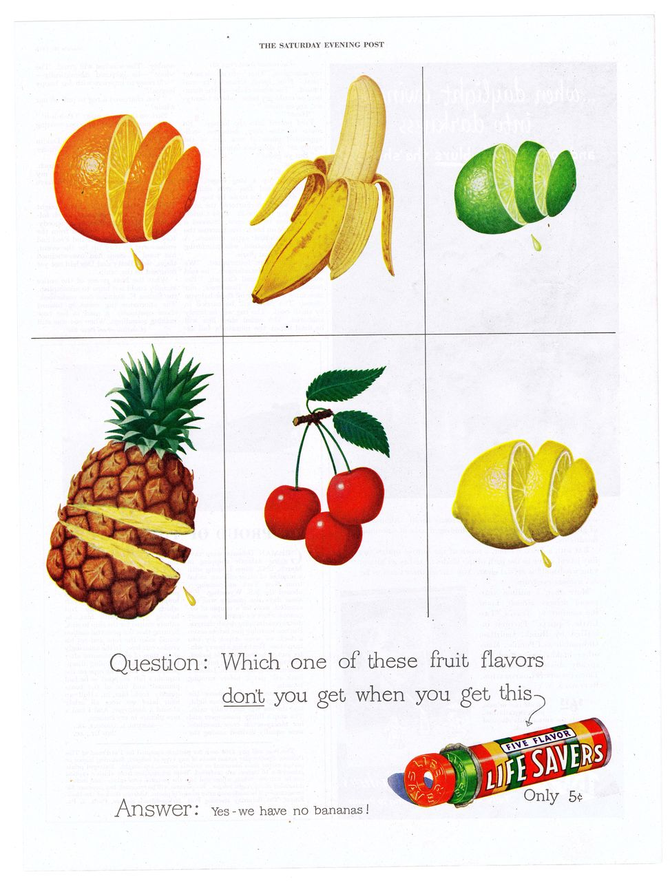 "1948 Ad - LIFE SAVERS ~ ""Yes - we have no bananas!"""
