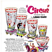 1952 Ad - LIBBEY GLASS 'Circus' Hostess Sets  (w/ price) - feat. Betty Hutton