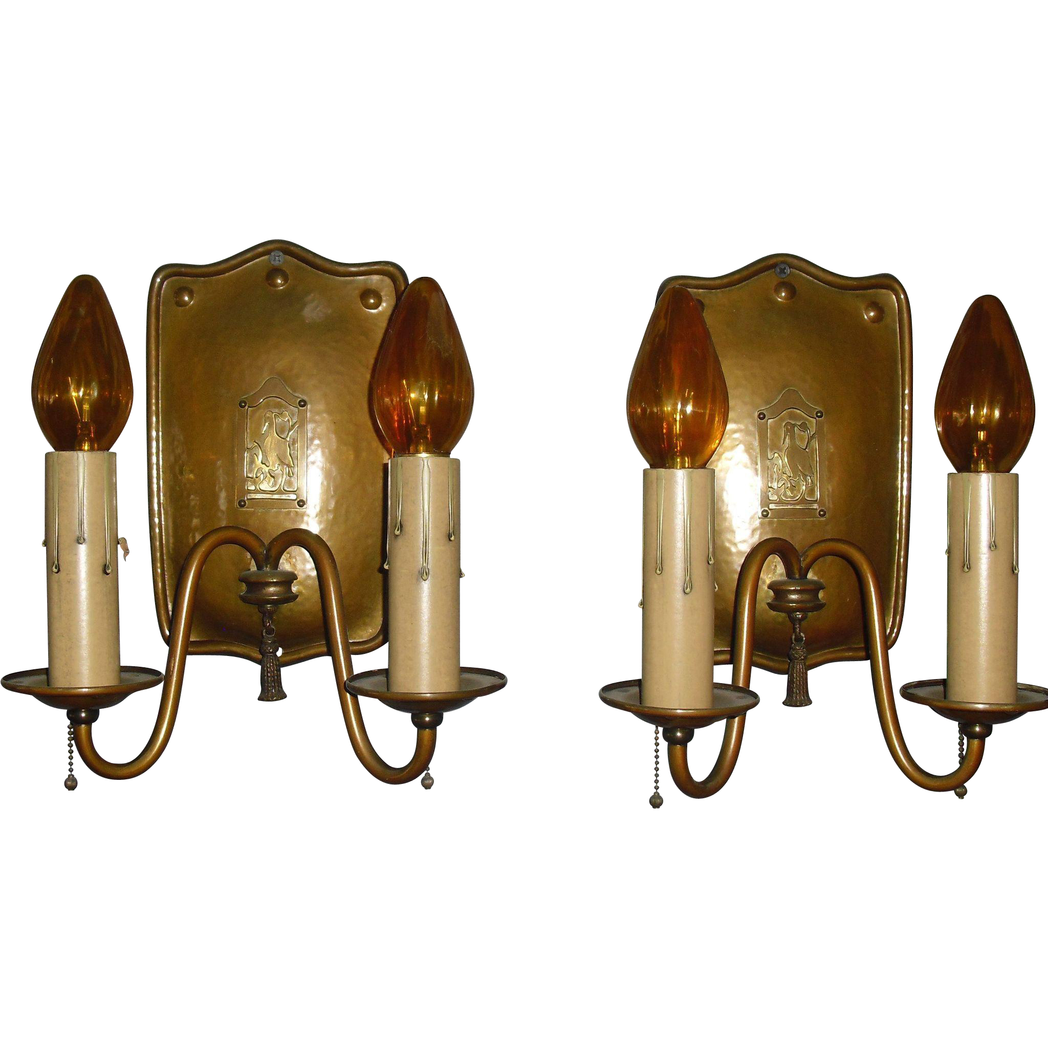 Arts and Crafts Wall Sconces - Brass w Original Finish