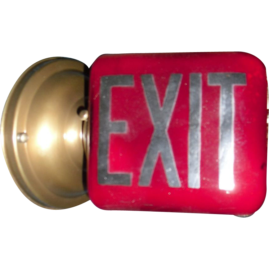 Wall Mounted Exit Lights : Red Exit Light Fixture - Wall Mounted from sherlocksantiquelights on Ruby Lane