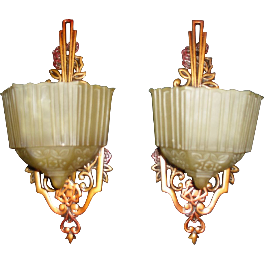 Art Deco Slip Shade Wall Sconces - Allied