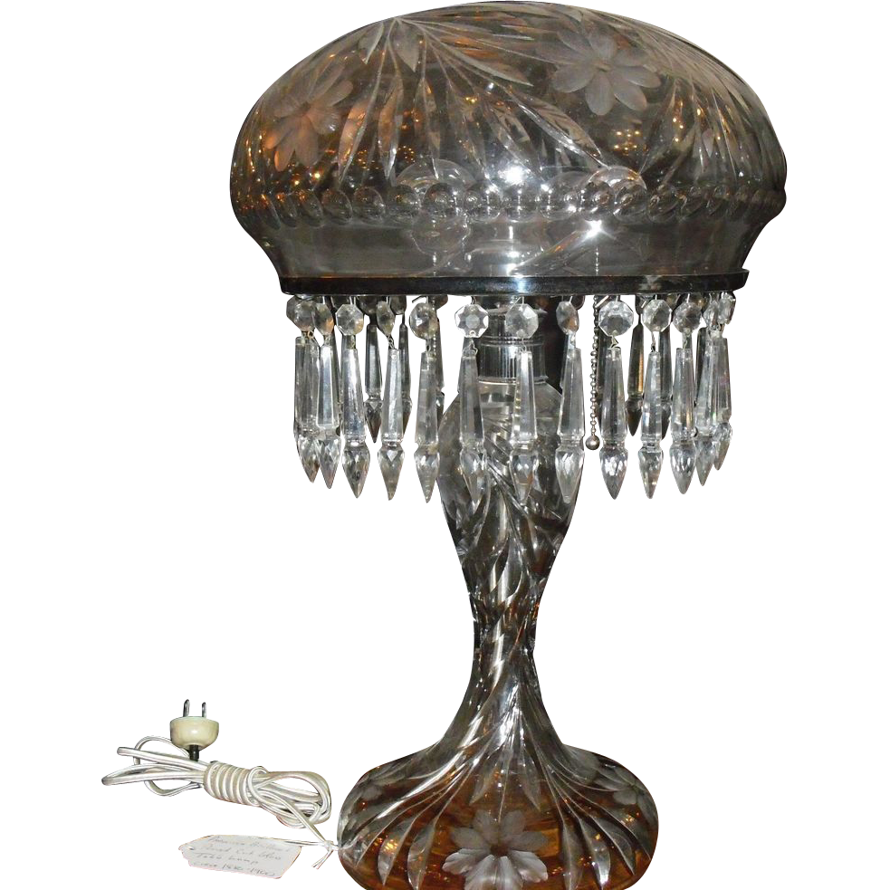 Cut Glass Table Lamp - American Brilliant Period