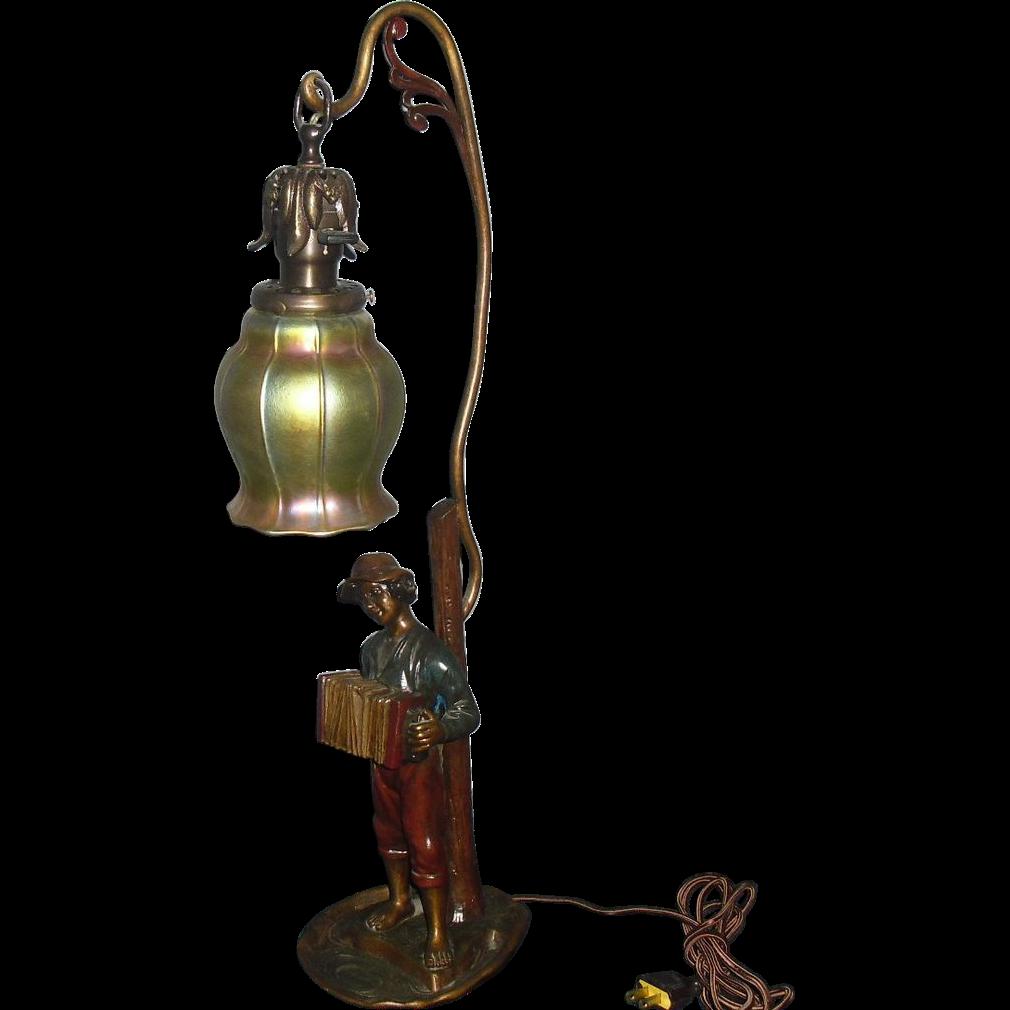 Figural Table Lamp, Steuben Art Glass Shade
